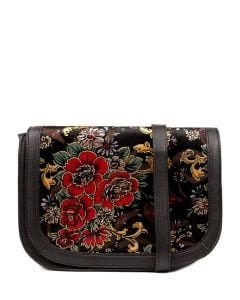 QUEM BAG IL BLACK&RED FLORA VELVET