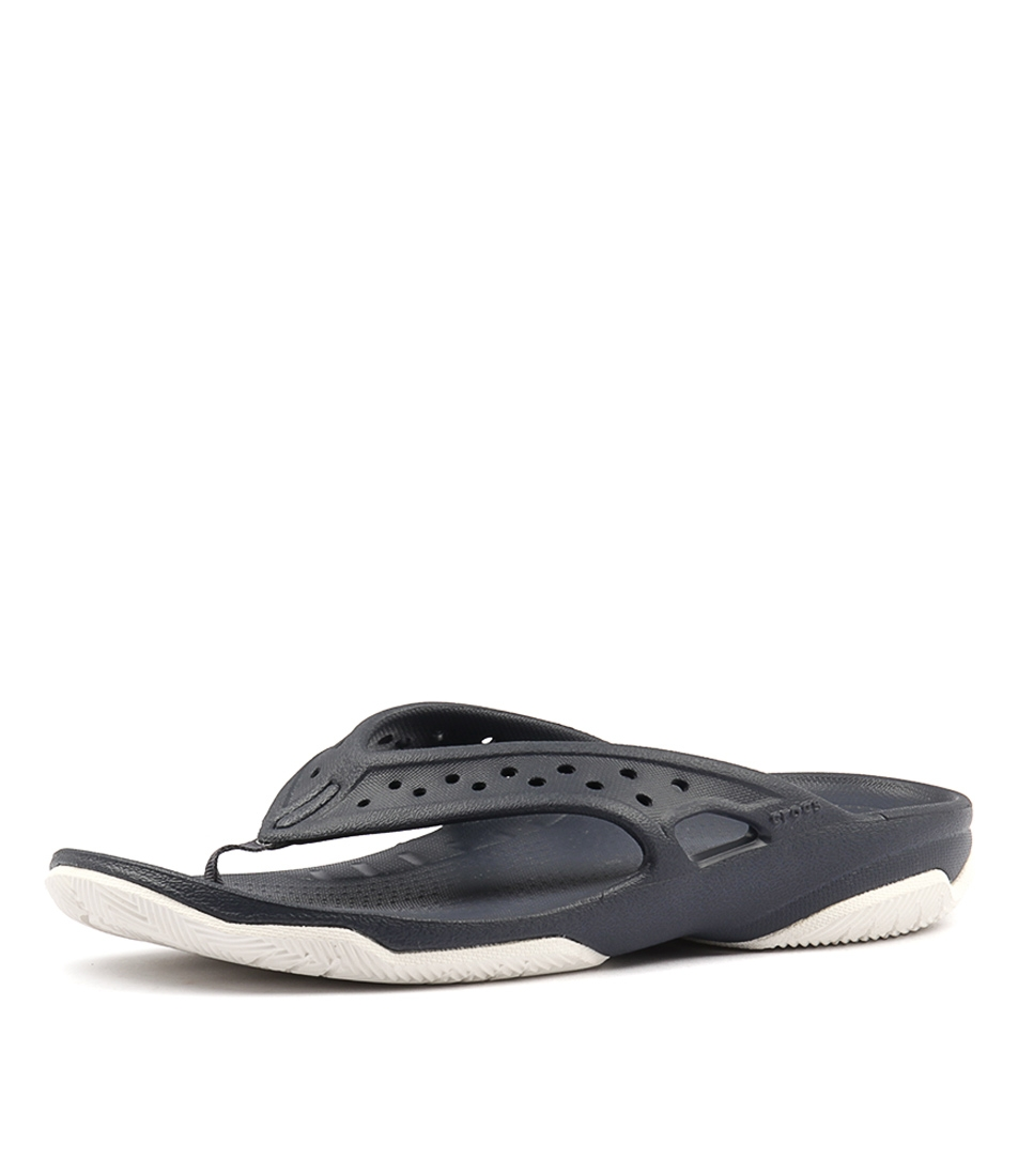 6c84f493f9d2f SWIFTWATER DECK FLIP NAVY WHITE SMOOTH by CROCS - at Styletread
