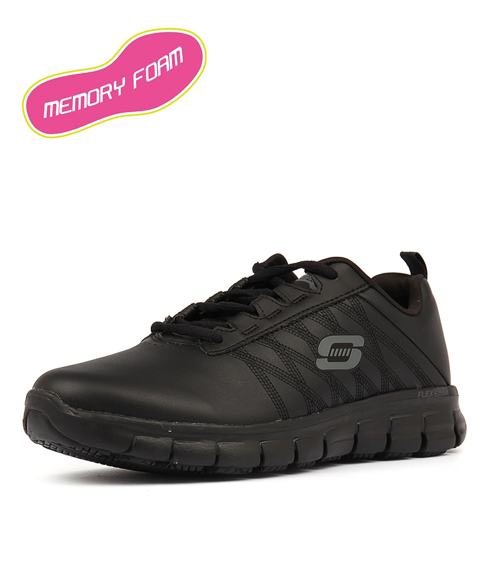 57604cf4b4e1 76576 SURE TRACK ERATH BLACK BLACK LEATHER by SKECHERS - at Styletread