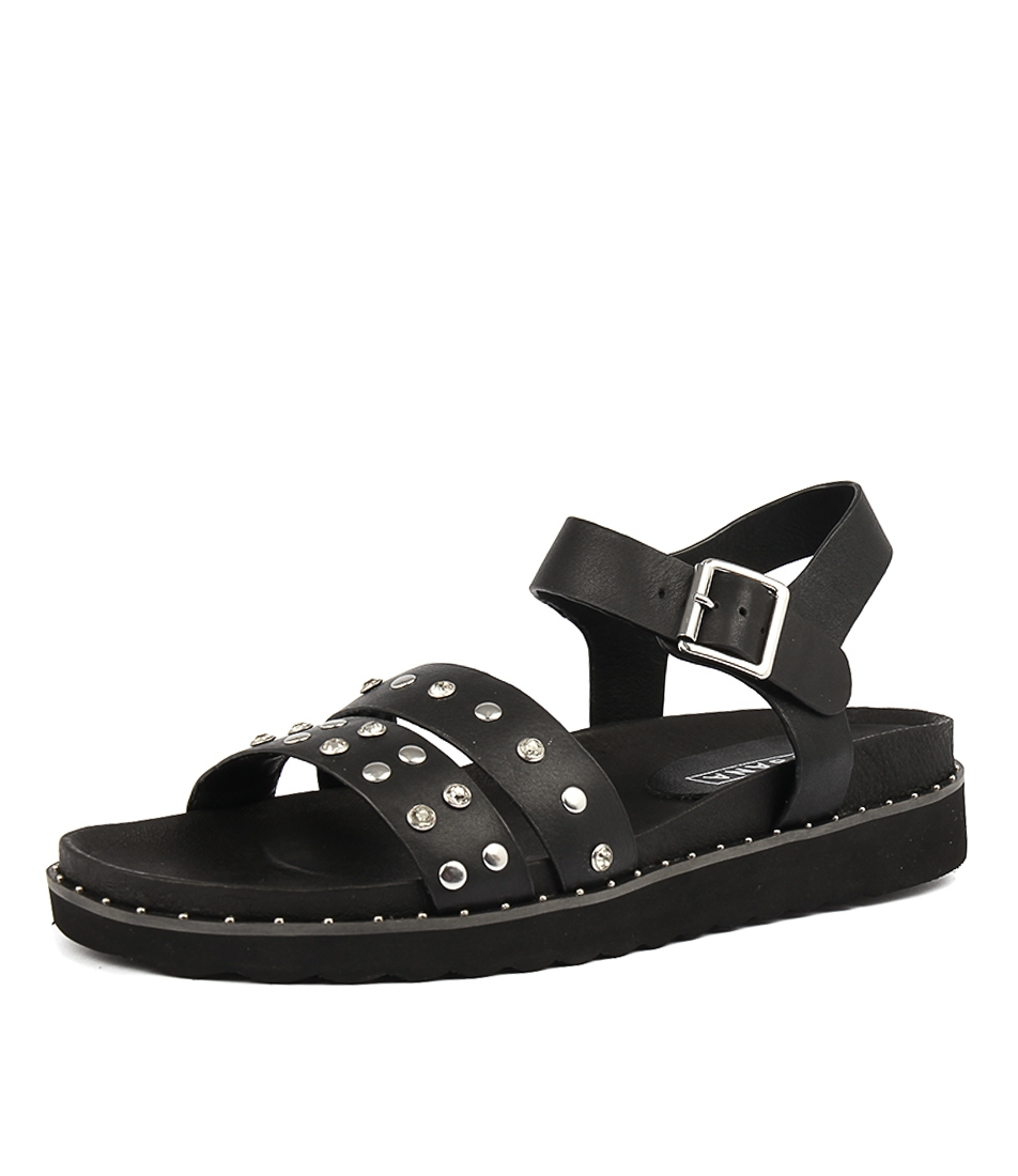 055fb59172e GALAXY SANDAL BLACK STUDS LEATHER by SOL SANA - at Styletread